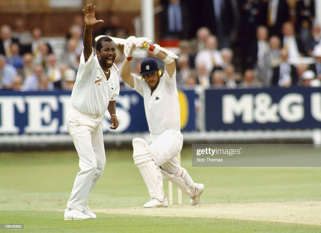 June 1991 2nd Cornhill Test Match at Lord's England v West Indies West Indies fast bowler Malcolm Marshall appeals against England batsman Robin...