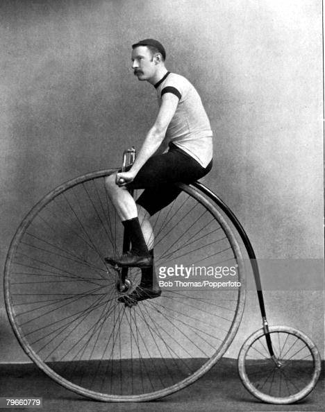 Sport Cycling circa 1895 JHAdams one of the top cyclists of his time pictured on an old fashioned penny farthing He took part in races with the new...