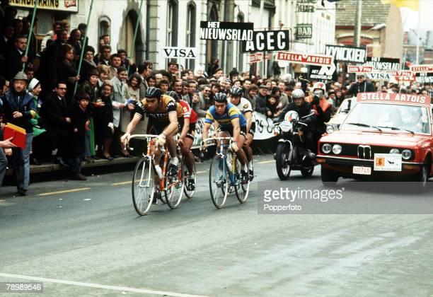 April 1973 Tour of Flanders Belgium's Eddie Merckx leading as the riders arrive in Meerbeke Belgium