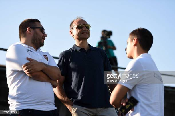 Sport director Fabio Lupo speacks with Head of Press Office Andrea Siracusa and Press officer Riccardo Gatto during a training session after the...