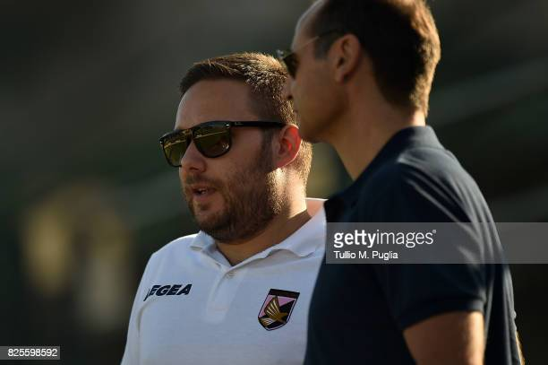 Sport director Fabio Lupo speaks with Head of Press Office Andrea Siracusa during a training session after the presentation of Giuseppe Bellusci as...