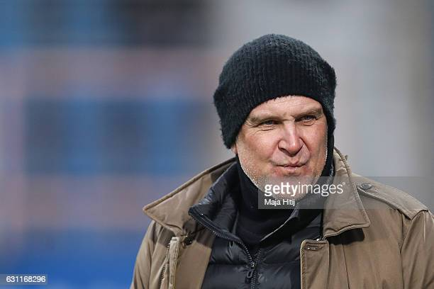 Sport Director Joerg Schmadtke of Koeln looks on prior a friendly match between VfL Bochum and 1 FC Koeln at Vonovia Ruhrstadion on January 7 2017 in...