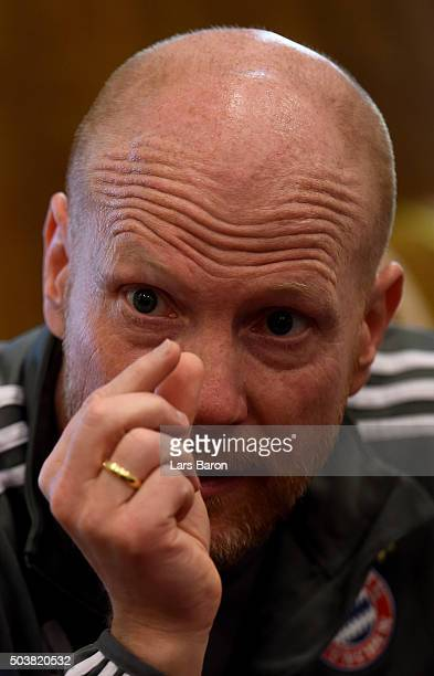 Sport director Matthias Sammer is seen at a press talk at day two of the Bayern Muenchen training camp at Aspire Academy on January 7 2016 in Doha...