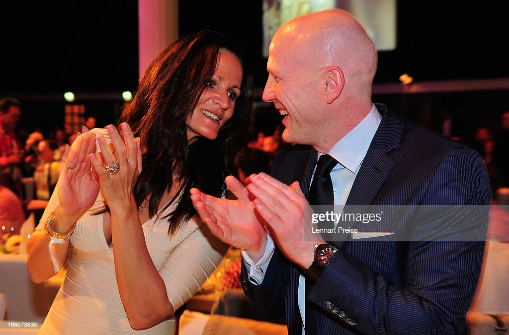 Sport director Matthias Sammer (R) of Bayern Muenchen and his wife Karin Sammer celebrate winning the German championship during the Official Champion dinner at Postpalast on May 12, 2013 in Munich, Germany.