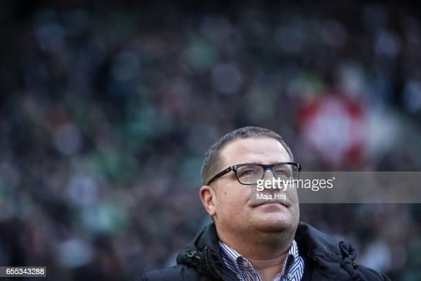 Sport Director Max Eberl of Moenchengladbach looks on prior the Bundesliga match between Borussia Moenchengladbach and Bayern Muenchen at...