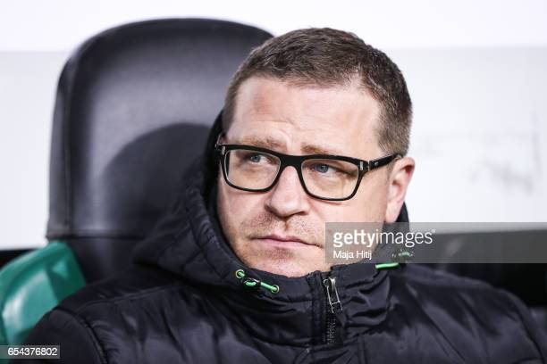 Sport director Max Eberl of Moenchengladbach looks on prior the UEFA Europa League Round of 16 second leg match between Borussia Moenchengladbach and...
