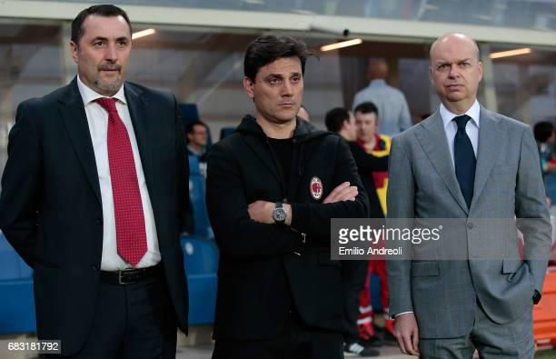 Sport Director of AC Milan Massimiliano Mirabelli AC Milan coach Vincenzo Montella and AC Milan CEO Marco Fassone look on before the Serie A match...