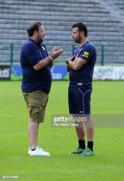 Sport Director of Parma Calcio and Daniele Foggiano Head Coach of Parma Calcio Roberto D'Aversa speak during the preseason friendly match between...