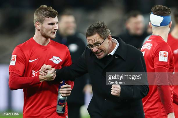 Sport director Ralf Rangnick of Leipzig celebrates with Timo Werner after the Bundesliga match between Bayer 04 Leverkusen and RB Leipzig at BayArena...