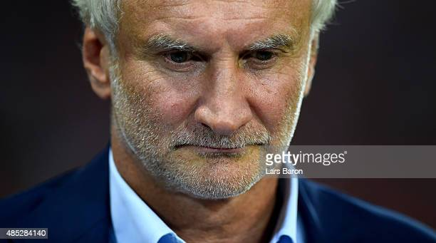 Sport director Rudi Voeller of Leverkusen looks on prior to the UEFA Champions League qualifying play off round 2nd leg between Bayer Leverkusen and...
