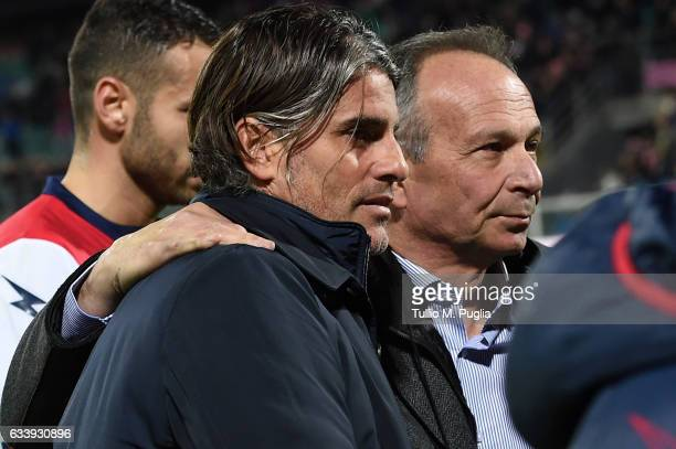 Sport Ditector of Palermo Nicola Salerno hugs head coach Diego Lopez after winning the Serie A match between US Citta di Palermo and FC Crotone at...