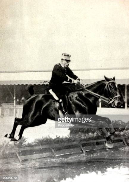 Sport Equestrian 1900 Olympic Games Paris France Grand Prix Jumping Individual France's Monsieur Pierre de Champsavin riding Terpsichore to the...