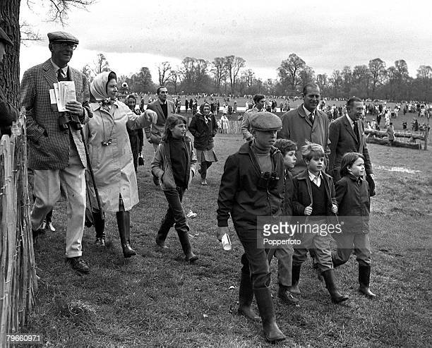 Sport Equestrian Gloucestershire England 25th April 1971 Badminton Horse Trials Queen Elizabeth II of Great Britain and her husband Prince Philip are...