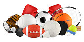 sports equipment on white background