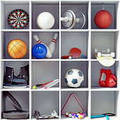 sport equipment on the shelves. creative concept