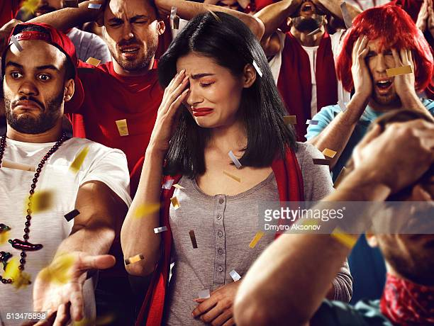 Sport fans: A girl in despair