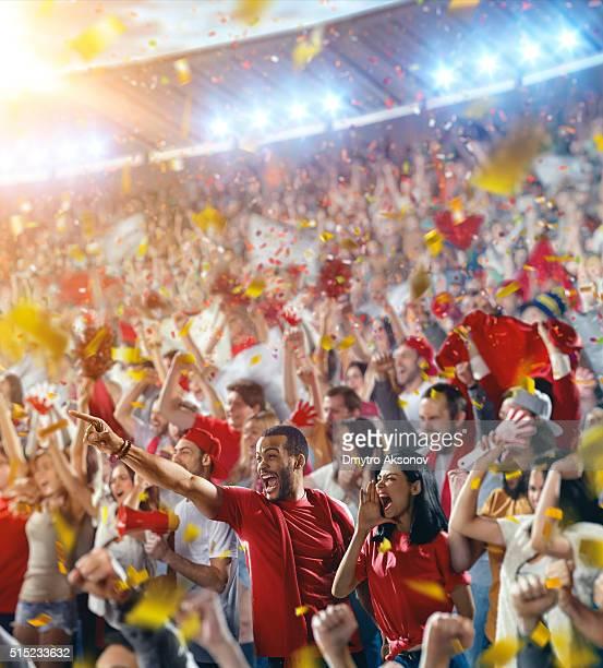Sport fans: Happy cheering friends