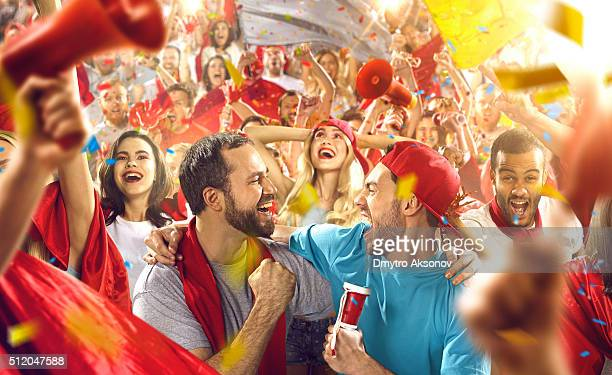 Sport fans: Two friends shouting