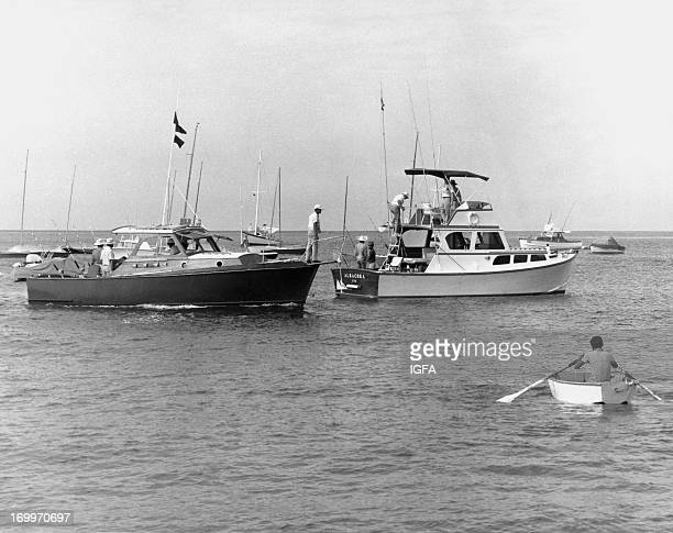 Sport fishing boats including the Albacora take to the waters of Punta Carnero Ecuador during the Little One Tournament in 1970