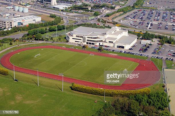 Sport Fitness Social Association building with athletics track and football pitch at Dublin Airport Ireland