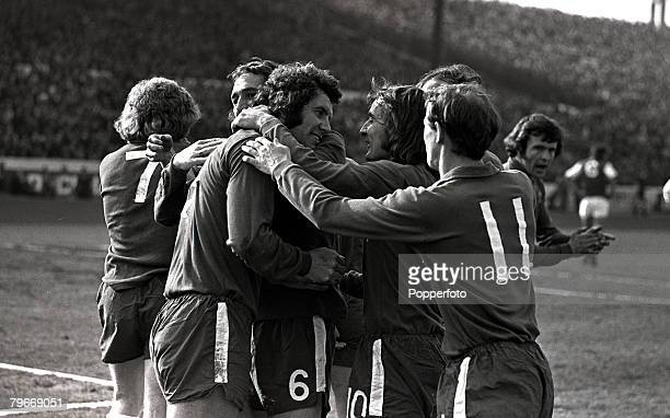 Sport Football 17th March Chelsea's Peter Osgood is congratulated by l/r Marvin Hinton Steve Kember and Peter Houseman after he had scored the 1st...