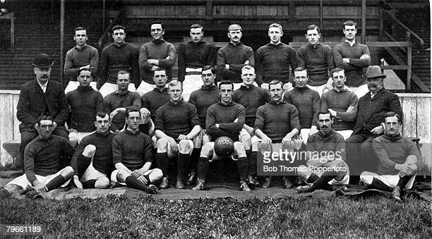 Sport Football 19051906 The Liverpool FC team pose together for a group photograph Back row LR JCarlin AWest CWilson SHanly EDoig WDunlop DMurray...