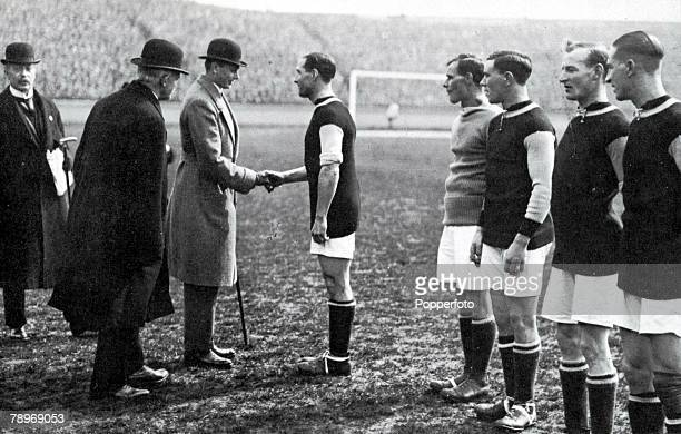 Sport Football 1920 FA Cup Final Stamford Bridge London 24th April Aston Villa 1 v Huddersfield Town 0 Prince Henry meets the Aston Villa team before...