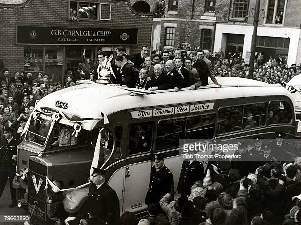 Sport Football 1951 FA Cup Final Newcastle United v Blackpool The FA Cup is paraded around the city in an open topped bus by the victorious Newcastle...
