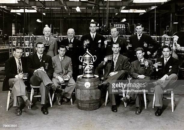 Sport Football 1951 FACup Final Newcastle United v Blackpool Members of the Newcastle United team with the FA Cup while visiting a brewery on Tyneside