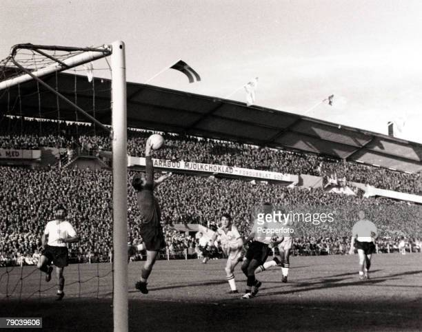 Sport Football 1958 World Cup Finals in Sweden 11th June 1958 England v Brazil in Gothenburg England goalkeeper Colin McDonald leaps to make a one...