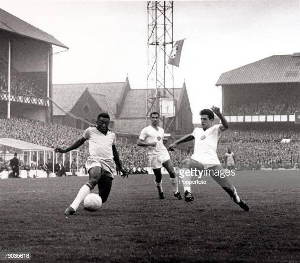Sport Football 1966 World Cup Finals Goodison Park Liverpool England 12th July 1966 Brazil 2 v Bulgaria 0 Brazil's Pele prepares to shoot as a...