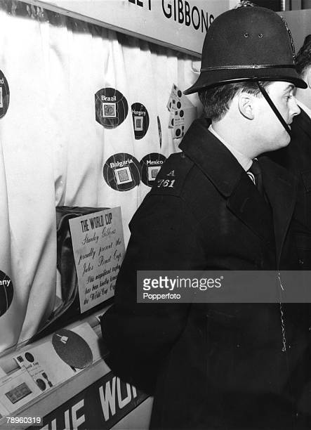 Sport Football 1966 World Cup Finals London pic March 1966 A policeman stands in front of the display case from which the Jules Rimet trophy was...