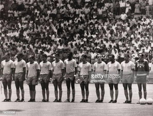 Sport Football 1970 World Cup Finals Guadalajara Mexico 14th June 1970 Quarter Final Brazil 4 v Peru 2 Brazil line up before the game LR Carlos...