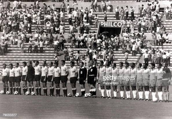 Sport Football 1970 World Cup Finals Guadalajara Mexico 17th June 1970 Semi Final Brazil 3 v Uruguay 1 Uruguay match officials and Brazil line up...