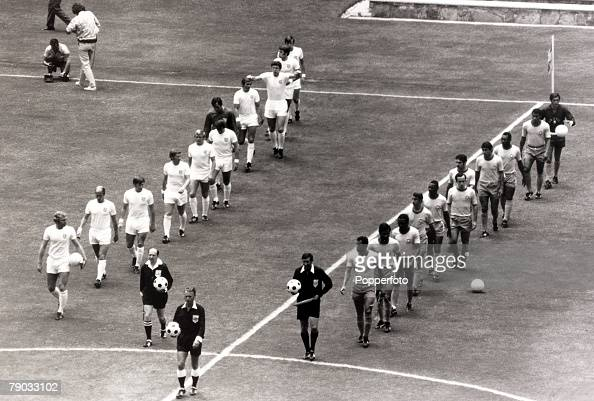 Sport Football 1970 World Cup Finals Guadalajara Mexico 7th June 1970 Group 3 England 0 v Brazil 1 The two teams walk onto the pitch together England...