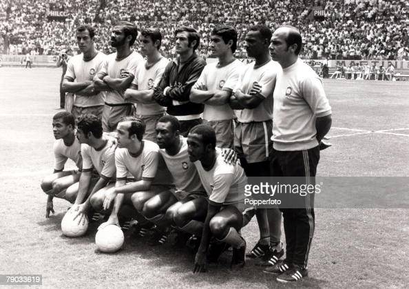 Sport Football 1970 World Cup Finals Guadalajara Mexico 7th June 1970 Group 3 England 0 v Brazil 1 Brazil players only back row LR Carlos Alberto...