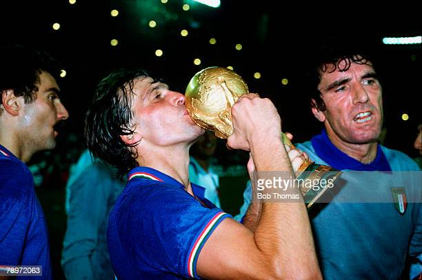 Sport Football 1982 World Cup Final Madrid Spain 11th July Italy 3 v West Germany 1 Italy's Marco Tardelli kisses the World Cup trophy after the match