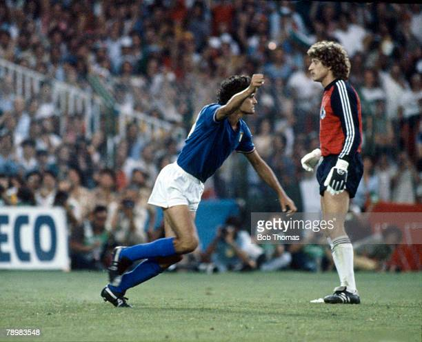 Sport Football 1982 World Cup Final Madrid Spain 11th July Italy 3 v West Germany 1 Italy's Alessandro Altobelli turns in triumph after scoring with...