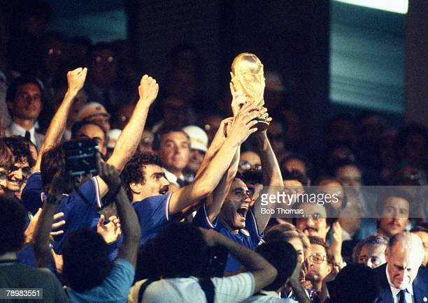 Sport Football 1982 World Cup Final Madrid Spain 11th July Italy 3 v West Germany 1 Italy's Claudio Gentile and Giuseppe Bergomi proudly hold aloft...