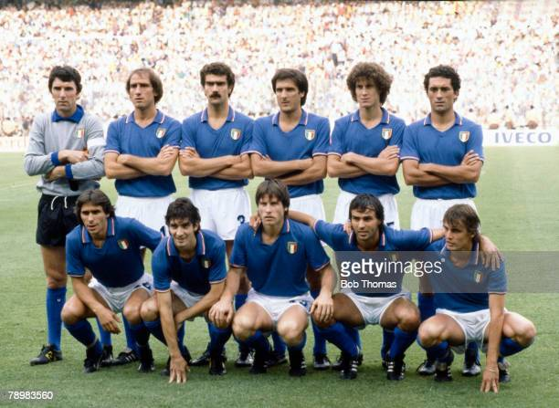 Sport Football 1982 World Cup Final Madrid Spain 11th July Italy 3 v West Germany 1 Italy team group Back row leftright Dino Zoff Francesco Graziani...