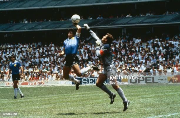 Sport Football 1986 Football World Cup Mexico Quarter Final Argentina 2 v England 1 22nd June Argentina's Diego Maradona scores 1st goal with his...