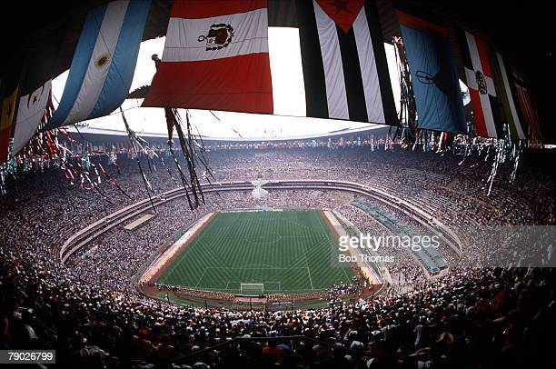 Sport Football 1986 World Cup Finals Mexico City Mexico A spectacular panoramic view of the Azteca Stadium