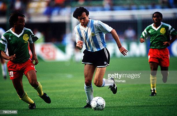Sport Football 1990 World Cup Finals Milan Italy 8th June 1990 Group B Argentina 0 v Cameroon 1 Argentinas Abel Balbo is challenged by Cameroons...