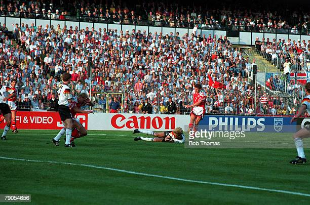 Sport Football 1992 European Championships Final Gothenburg Sweden Denmark 2 v Germany 0 26th June Denmark's John Jensen fires home their first goal