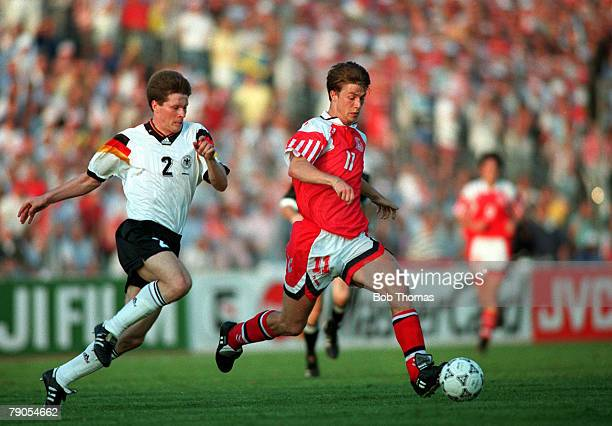 Sport Football 1992 European Championships Final Gothenburg Sweden Denmark 2 v Germany 0 26th June Denmark's Brian Laudrup is chased for the ball by...