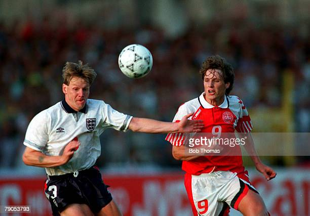 Sport Football 1992 European Championships Malmo Sweden 11th June 1992 Denmark 0 v England 0 England's Stuart Pearce and Flemming Poulsen battle for...