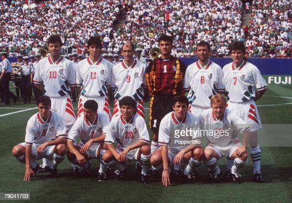 Sport Football 1994 World Cup Finals Second Phase New Jersey USA 5th July Bulgaria 1 v Mexico 1 The Bulgarian team group before the match