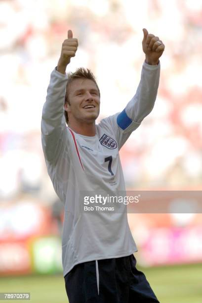 Sport Football 2006 FIFA World Cup Frankfurt 10th June 2006 England 1 v Paraguay 0 Thumbsup to the England fans as captain David Beckham celebrates...
