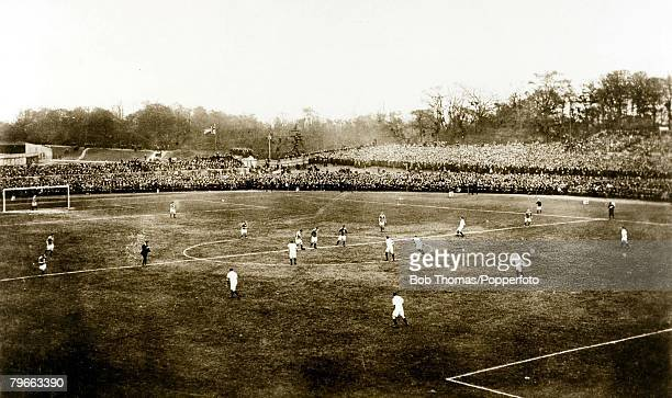 Sport Football 24th April 1909 The English FA Cup Final Crystal Palace London Manchester United 1 v Bristol City 0 A general view of the Crystal...