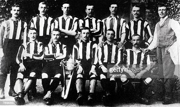 Sport Football 31st March 1894 The Notts County team captained by Calderhead with English FA Cup trophy after their victory over Bolton Wanderers by...